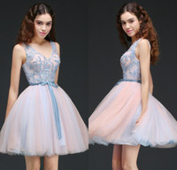 Wholesale Corset Homecoming Dresses Cheap - 2018 New Designer In Stock Short Homecoming Dresses Lace Appliqued Corset Back Cocktail Party Gowns Cheap Junior Bridesmaid Dress CPS658