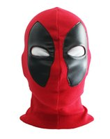 Wholesale Red Hat Fabric Wholesale - New Cool Marvel Superhero Deadpool Mask Breathable Fabric Faux Leather Full Face Mask Halloween Cosplay Keep Warm Balaclava Hat