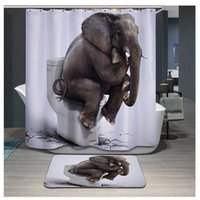 Wholesale Print Curtains - 3D Printing Elephant Tiger Shower Curtain Waterproof Lion Bathroom Bath Curtains Polyester cortina ducha with Hooks curtains YB106