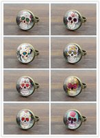Wholesale Picture Choose Fashion - 10pcs Mix Choose Glass Cabochon Vintage Women Rings Rose Skeleton Skull Picture Fashion Jewelry Ancient Bronze Rings for Women Men Gifts