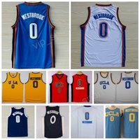 Wholesale Bruins Throwback - 2017 College 0 Russell Westbrook Jersey Men Throwback OKC UCLA Bruins Russell Westbrook Basketball Jerseys Sports XMAS Blue White Orange