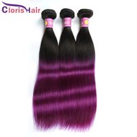 Wholesale Double Drawn Hair Extensions - Silk Soft Ombre Hair Extensions Two Tone 1b Purple Straight Brazilian Human Hair Weave Double Drawn Ombre Remi Weft 3 Bundles