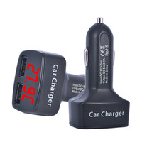 Wholesale- Le plus récent 4 en 1 chargeur de voiture Dual DC5V 3.1A USB avec tension / température / Current Meter Tester Adapter Digital Display