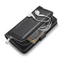 примечание женская сумочка оптовых-Многофункциональный кошелек кожаный чехол для iphone XS Max XR 8 7 6S Plus S7 S8 S9 S10 Plus Note 8 9 Чехол для телефона с молнией Чехол для телефона Lady Lady