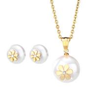 Wholesale Artificial Little Flower - Fashionable A Set of Necklace Stub Earrings Jewelry Set Artificial Pearl Pendant Necklace with Little Flowers Titanium Steel