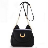 Wholesale Wholesale Satchels - Wholesale-Sailor Moon Bags 2016 Summer Limited For Ladies Handbag With PU Leather Black White Cat Luna Moon Women Messenger Crossbody Bag
