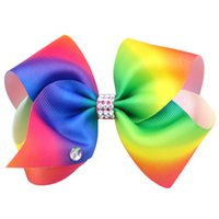 Wholesale Kids Rhinestone Hair Clips - 8 inch giant JOJO SIWA Style 18cm big rainbow bowknot hair clip pins hairclips with crystals bow hair accessories for kids children