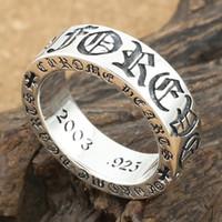 anillo de plata esterlina vintage hombres al por mayor-Plata de ley 925 American Europe, joyería vintage, hecho a mano, cruces, anillo de plata antigua para hombres, regalo de mujer