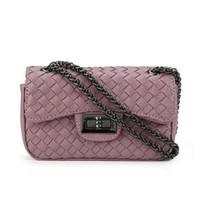 Wholesale manual covers - Wholesale- Pure manual weaving woman single shoulder bag Fashion women bag knitting chain small Bags