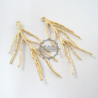 Wholesale Coral Pendant Light - Wholesale- 20x38mm 14K light gold plated brass coral branch DIY pendant charm jewelry findings supplies 1850168