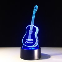 Wholesale Guitar Amazing - Amazing Guitar 3D Lamp Night Light 7 RGB Lights Touch Button AA Battery USB Charging Gift Present Fast Free Shipping Dropshipping