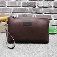 Wholesale Large Vintage Clutch - new vintage Men Wallets with Phone Bag Vintage Leather Clutch Wallet Male Zipper Purses Large Capacity Men's Wallets