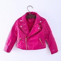 kızlar sahte deri ceket toptan satış-2020 Yeni Moda Bebek Kız Ceketler Çocuk Trendy Ceket Fermuar Sahte Deri Mont Sonbahar Kış Dış Giyim Çocuk Giyim Sıcak Satış