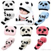 Wholesale Children Fleece Hat Scarf Wholesale - 20pcs Lovely Panda Hats Baby Caps Kids Hat Winter Cap Children Masks Baby Hat Knitted Warm Cotton Toddler Beanie Scarf Two-piece Set A299
