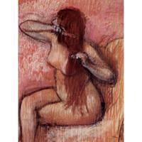 ingrosso oli naturali moderni-Arte moderna Seated Nude Pettinarsi i capelli Edgar Degas dipinti ad olio Riproduzione Decorazioni per la casa dipinte a mano di alta qualità