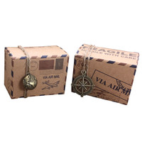 recuerdos de avión al por mayor-100 unids Vintage Favors Kraft Paper Candy Box Travel Theme Airplane Air Mail Cajas de embalaje de regalo Recuerdos de boda scatole regalo