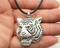 Wholesale Tiger Head Fashion Necklace - WYSIWYG fashion antique bronze, antique silver tone big tiger head pendant leather chain necklace