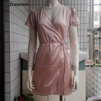 Wholesale- Vintage Nightdress Satin Nightgowns Comfy Slip Pretty Nighties  Artificial Silk Sleepwear sleeve V neck ladies short mini satin 03c777fb2