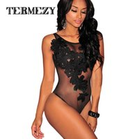 Wholesale Sexy Jumpsuits For Women Xl - 2017 Hot Bodysuit Women Jumpsuit Sexy Rompers Floral Embroidered Sheer Mesh Overalls for Women Bodysuit Sexy Playsuit Plus Size