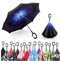 Wholesale Nylon Fabric Roll - Creative inverted umbrellas double layer with C handle or J handle inside out reverse Windproof umbrella Many colors available b540