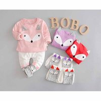 Wholesale Old Clothing Brands - Baby Kid Clothes Fox Tracksuits For 1-4 Years Old Long Sleeves Outfit Blouses Pants Set Girls Clothing Set Fall Clothing