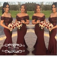 Wholesale Sparkling Long Mermaid Dresses - Sparkling Sequins Off Shoulder Bridesmaid Dresses With Sleeves Mermaid Burgundy Satin 2017 Long Maid Honor Dress Party Bridal Gown