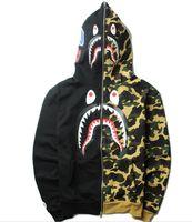 Wholesale Men Metrosexual - 2017 high version Autumn and winter street brand personality Metrosexual ape Camo stitching shark Hoodie men kanye west hip hop hoodies