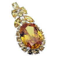 Wholesale High Quality Citrine - Yellow Citrine Pendants Necklace 925 Sterling Silver Gemstone Crystal Shinny Genuine Rhinestone Free Shipping High Quality