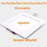ultra dünnes vertieftes licht dimmbar großhandel-Dimmbares ultra dünnes SMD2835 hohes LM LED Downlight 3w / 4w / 6w / 9 / 12w / 15w / 18w / 25W quadratische LED Deckeneinbauleuchte AC85-265V LED Instrumententafel-Leuchte