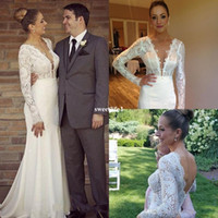 Wholesale Wedding Dress Styles For Muslim - Sexy Deep V Neck Long Sleeve Wedding Dresses 2017 Backless Mermaid Full Lace Bridal Gown For Counrty Style Boho Custom Made