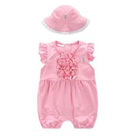 Wholesale Baby Pink Romper Dot - 2017 Summer New Baby Girl Romper Polka Dot Sleeveless Lace Princess Pink Jumpsuit Overalls+Hat Toddler Clothing12222