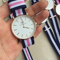Wholesale Discount Waterproof Watches - 2017 Discount 36mm DW Watch fashion 30m waterproof rose gold nylon Strap Daniel Men Women Wellington Wristwatch