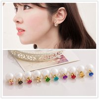 Trendy Celebrity Double Side Pearl Earrings Multi Colors Zicon Boucles d'oreilles Fashion Crystal Ear Statement Jewelry cc-2016