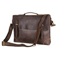 Wholesale 14 Laptop Briefcase Shoulder Bag - Mens Crazy Horse Leather Handbag Messenger Bag Briefcase Single inclined Shoulder Bag 14 inch Laptop Bag Deep Brown Color 7228