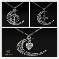 Wholesale Owl Moon Charm - Long chain pendant necklaces hollow moon Life of tree owl cross charm men jewelry gift for lover