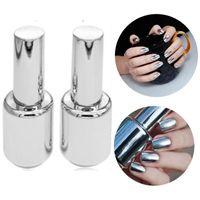 Wholesale Nail Art Set Bottle - 2 Bottles 15ml Silver Mirror Effect Nail Polish Varnish Top Coat Metallic Nails Art Tips DIY Manicure Design Tools Set