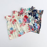 Wholesale Dress Girl Princess Cotton - Everweekend New Girls Floral Print Sumer Dress Candy Color Ruffles Western Princess Party Dress Western Fashion Cute Children Holiday Dress