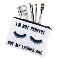 Wholesale Diamond Lashes - 2017 Lovely Square Makeup bag Cosmetic case Pencil Bags Lashes White Handbags zipper pouch canvas Small organizer toiletry For Women