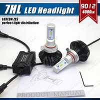Wholesale Slim Hid Lights - 1 Set 9012 HIR2 50W 8000LM G7 LED Headlight Slim Auto Kit PHILI LUXEON ZES LUMILED Chip 7th Fanless 6500K Super White Repla HID Halogen Lamp