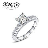 Wholesale Emerald Cut Sterling Silver Ring - Moonso Hot! Real 925 Sterling Silver Wedding Engagement Ring 1.5 Emerald Princess Cut CZ Diamond Jewelry Wholesale R645