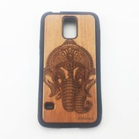 Wholesale Galaxy S4 Cover Cool - Coolest TPU Wood Grain Cover Skin Protection Case For Samsung Galaxy Note3 Note4 Note5 S4 S5 S6 S6edge plus Wolf Carving for Gifts