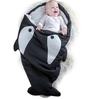 Wholesale Baby Thick Blankets - New Arrival Cute Cartoon Shark Babies Sleep Bag Thick Winter Infant Blanket Warm Swaddle Newborn Photography Wrap