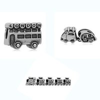 Wholesale Buses Steels - Comejewelry Transportation Traveling Car, London Bus, train Stainless Steel Beads Fit For Pandora Bracelet Jewelry for Making