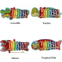 Wholesale Instrument Music - Baby's Wooden Musical Toys Trailer 8-Note Xylophone Children Hand Knocking Piano Crocodile Turtles Lobster Fish Cartoon Music Instrument