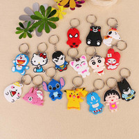 Wholesale Wholesale Minions Souvenir - New Arrival 19 Models Cartoon Trinket PVC Keychain Tool Minions Avengers Hello Kitty Key Ring Holder Key Chains Finder Souvenirs Gifts Item