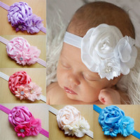 Wholesale Elastic Lace Headbands Rose - Flower girl hair accessories Flower hairbands girls Elastic headband Strechy lace hairband Rose flower hair ornaments girl hair acc