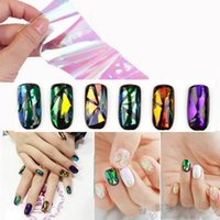 Wholesale Decals Foil Nail Art - 200 sheets Nail Sticker Broken Glass Water Decals Mirror Effect For Nails Art Fancy Punk Galaxy Transfer Nail Foils