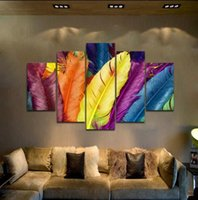 Wholesale 5pc Canvas - 5PC Colorful Feather, Pure Handpainted Huge Modern fashion home Wall Deco Abstract Art Oil Painting On canvas arch
