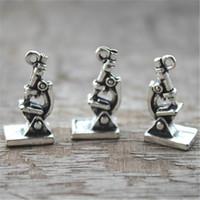 Wholesale Microscope Wholesalers - 10pcs--Microscope Charms, Antique tibetan silver 3d Microscope Charms Pendants 20x10x8mm