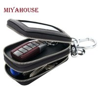 Atacado - Miyahouse Knitting Men Car Key Holder Homem de couro genuíno Organizador Multifuncional Housekeeper Novo Double Zipper Motor Key Case
